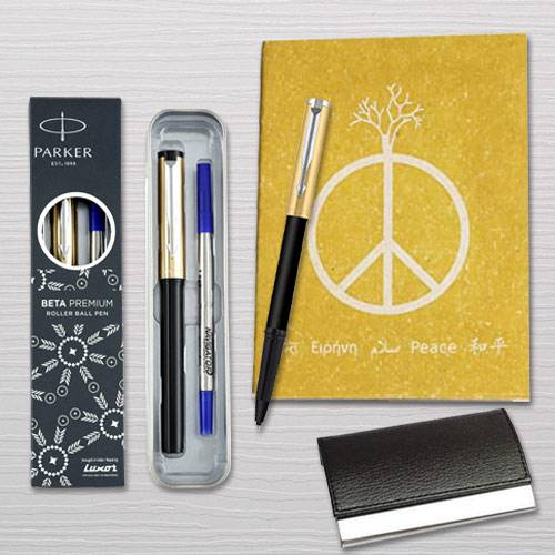 Delightful Combo of Parker Pen with Diary Planner and Visiting Card Holder