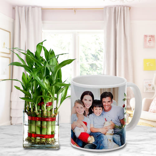 Breathtaking 2 Tier Leafy Bamboo Plant in a Personalized Coffee Mug