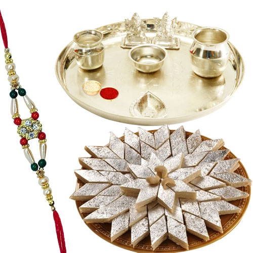 Appealing Haldiram Katli and free Rakhi, Roli Tilak N Chawal with Silver Plated Pooja Thali on the Occasion of Raksha Bandhan