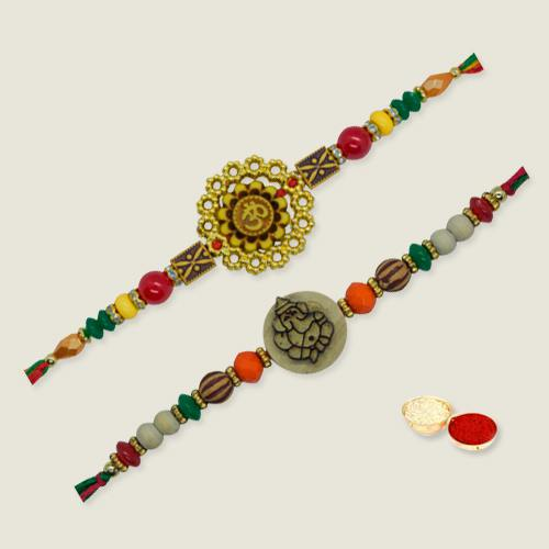 Attractive Beaded Thread Rakhi with Love