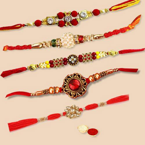 Cool Rakhi Special Pack of 5 Pieces Rakhi with Free Roli Tilak and Chawal for your Dear Brother