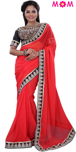 Fabulous Orange Crepe Printed Saree Collection