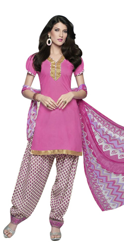 Dazzling Pure Cotton Printed Patiala Suit in Pink Colour