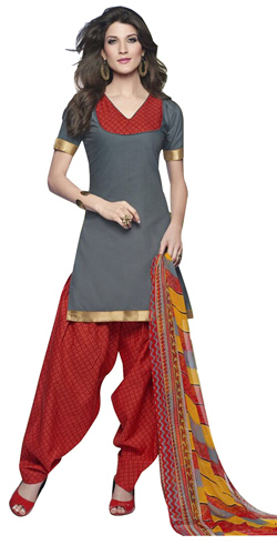 Stylish Cotton Printed Patiala Suit Shaded in Grey and Red