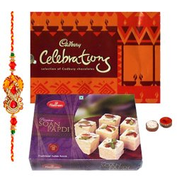 Wholesome Display of Haldiram Soan Papri and Cadbury Celebration Chocolates with Free Rakhi, Roli Tilak and Chawal for this Raksha Bandhan