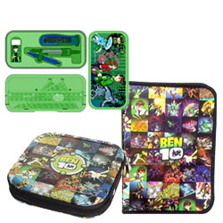 Wonderful Gift Collection of Ben 10 Geometry Box, Zipper File Pack N CD Cover