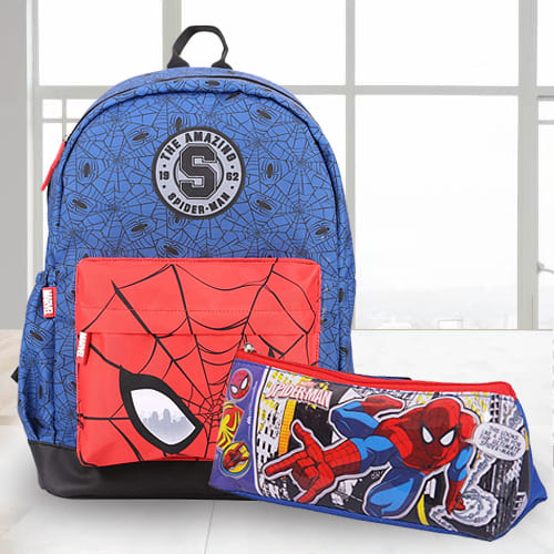 Striking Spiderman School Bag n Pencil Box Combo
