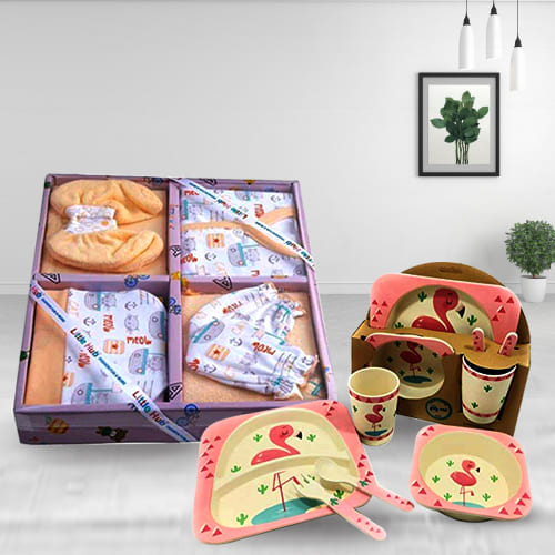 Wonderful Infants Clothing n Feeding Set