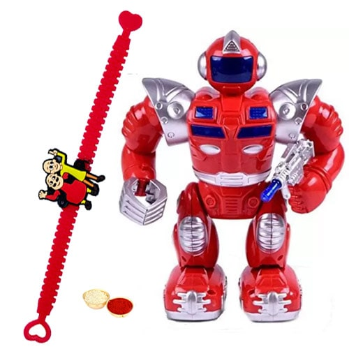 Remarkable Gift of Battery Operated Walking Robot with a Free Rakhi Roli Tilak and Chawal for your Little Brother