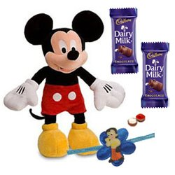 Adorable Disney Mickey Mouse Soft Toy and Chocolates with Kids Rakhi and Roli Tilak Chawal