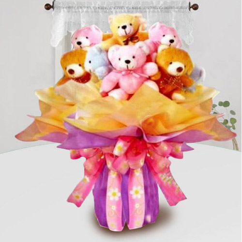 Exclusive Bouquet of Multicolor Teddies