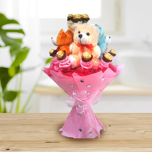 Marvelous Teddy Bouquet with Ferrero Rocher Chocolate