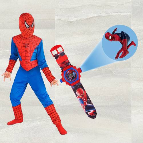 Exclusive Spiderman Projector Watch N Spiderman Costume for Kids