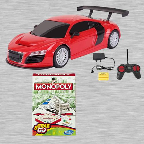 Amazing Racing Car with Remote Control N Monopoly Grab N Go Game