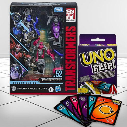 Exclusive Transformers Action Figure N Mattel Uno Flip Side Game