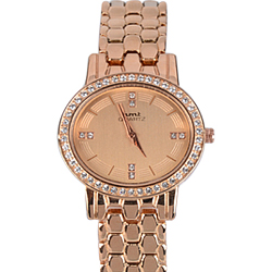 Stone Studded Rose Gold Watch for Women