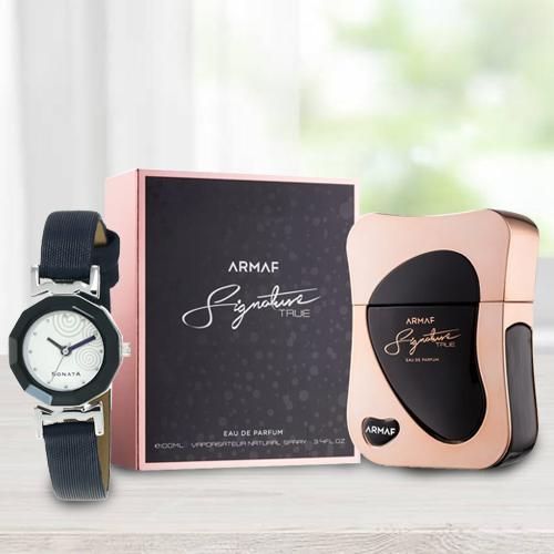 Exclusive Sonata Analog Womens Watch N Armaf Perfume