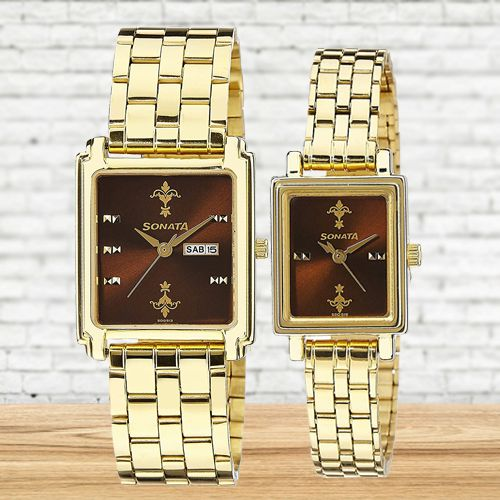 Exclusive Sonata Analog Couple Watch
