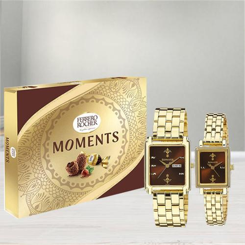 Amazing Sonata Analog Watch N Ferrero Rocher Moments Chocos
