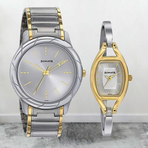 Remarkable Sonata Analog Silver Dial Pair Watch