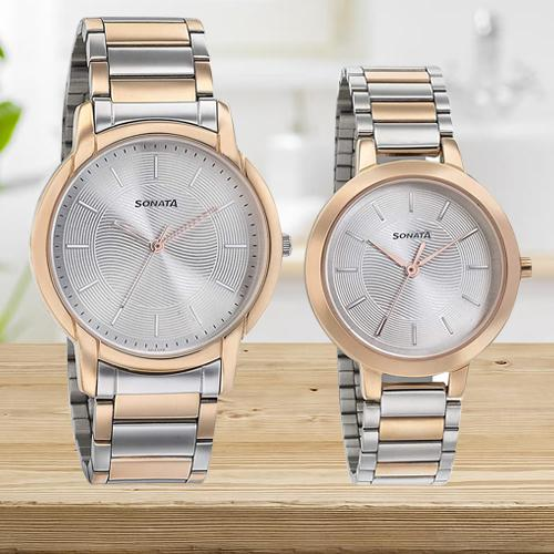 Alluring Sonata Analog Silver Dial Couple Watch