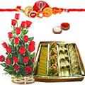 Breathtaking 1/2 Kg. Assorted Sweets from Haldiram and 18 Red Roses Basket with Free Rakhi