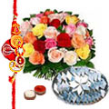 Admirable Designer Rakhi with Sweets and Roses